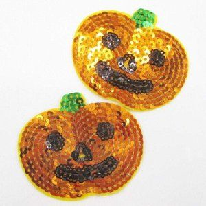 2pc Pumpkin Jack O lantern Sequin Iron on Patches